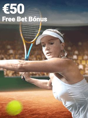 freebet bonus 50€ raquete mulher bola quadra estadio terra
