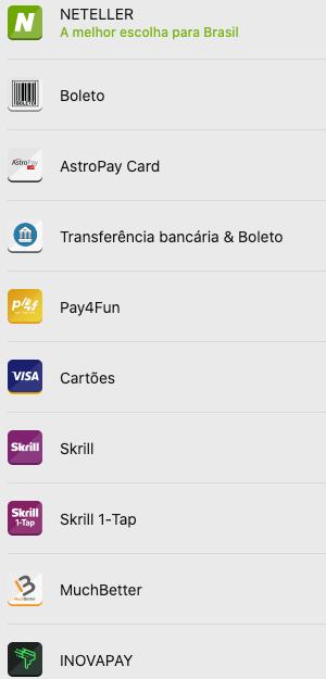 todos os metodos de pagamentos betway deposito