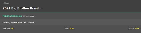 Bet365 com odds para o paredão do BBB21 entre Viih Tube, Fiuk e Gil