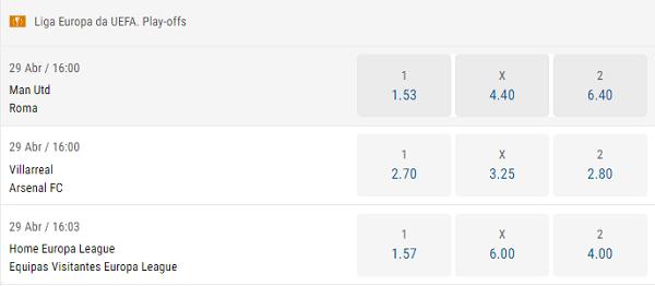 odds Parimatch para os jogos de ida das semifinais da Liga Europa: Manchester United vs Roma e Villarreal x Arsenal