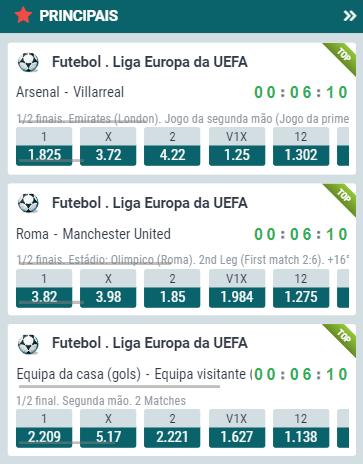 odds 22bet para os jogos de volta das semifinais da Liga Europa