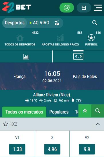 odds 22bet para os Amistosos Internacionais de preparação para a Eurocopa com odds para França x País de Gales