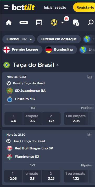 odds Bettilt para os jogos de volta da Copa do Brasil, fase 16 avos de final