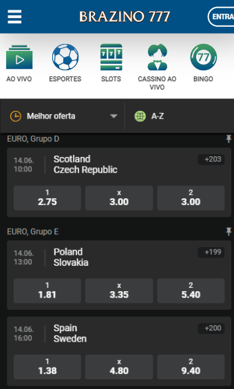 odds Brazino777 para os jogos da Eurocopa desta segunda