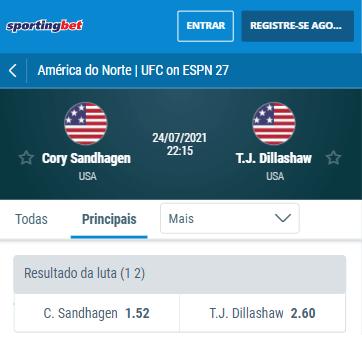 odds sportingbet para o ufc sandhagen x dillashaw