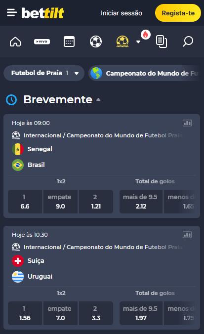 Bettilt com odds para os jogos das quartas de final da Copa do Mundo de futebol de areia: Brasil x Senegal