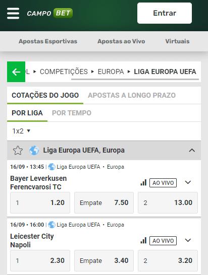 Campobet com odds para todos os jogos da 1ª rodada da fase de grupos da Liga Europa