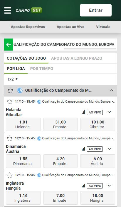 Campobet com odds para a 8ª rodada das Eliminatórias da UEFA